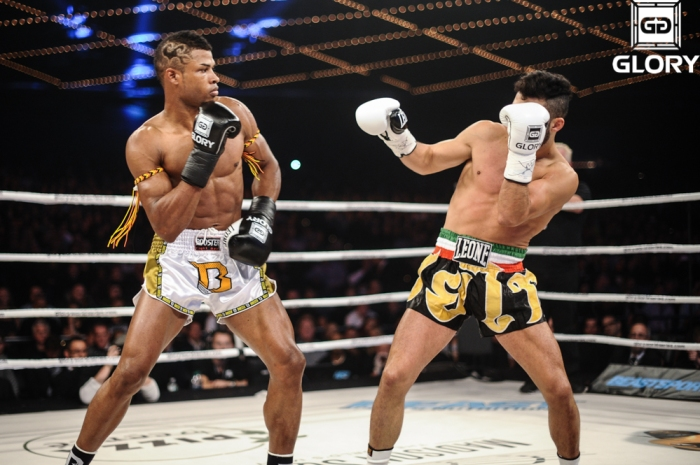 Surinam's Andy Ristie (left) took out Giorgio Petrosyan (finally) at Glory 12
