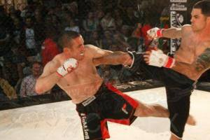 Ryan White (L) at Cage Fighting Xtreme 24 in Boston